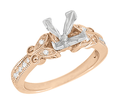 Art Deco Filigree Butterfly 3/4 Carat Princess Cut Diamond Engagement Ring Setting in 14 Karat Rose Gold