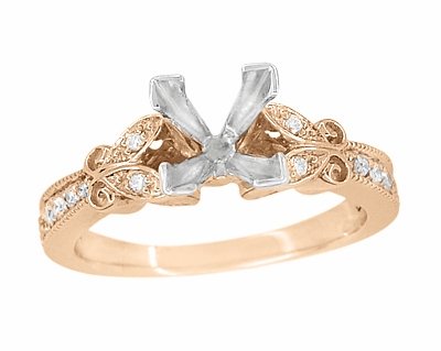 Art Deco Filigree Butterfly 3/4 Carat Princess Cut Diamond Engagement Ring Setting in 14 Karat Rose Gold - Item R850PR75R - Image 1