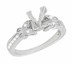 Art Deco Filigree Butterfly 3/4 Carat Princess Cut Diamond Engagement Ring Setting in 14 Karat White Gold