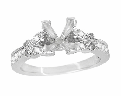 Art Deco Filigree Butterfly 3/4 Carat Princess Cut Diamond Engagement Ring Setting in 14 Karat White Gold - Item R850PRW75 - Image 1