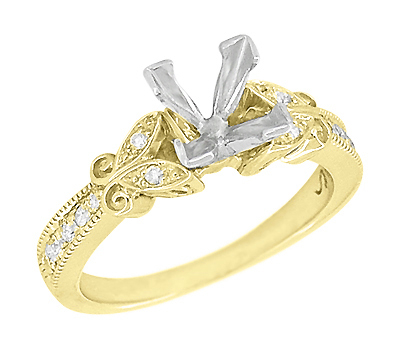 Art Deco Filigree Butterfly 3/4 Carat Princess Cut Diamond Engagement Ring Setting in 14 Karat Yellow Gold