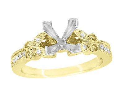 Art Deco Filigree Butterfly 3/4 Carat Princess Cut Diamond Engagement Ring Setting in 14 Karat Yellow Gold - Item R850PR75Y - Image 1