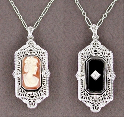 Art Deco Filigree Cameo Onyx & Diamond Flip Pendant - 14 Karat White Gold