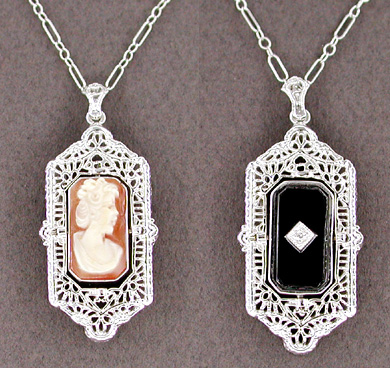 Art Deco Filigree Cameo Onyx and Diamond Flip Pendant Necklace in Sterling Silver