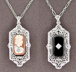 Art Deco Filigree Cameo Onyx and Diamonds Flip Pendant Necklace in Sterling Silver