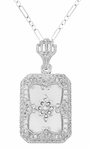 Art Deco Filigree Camphor Crystal and Diamond Rectangular Pendant Necklace in 14 Karat White Gold, Antique Style Camphor Crystal Necklace
