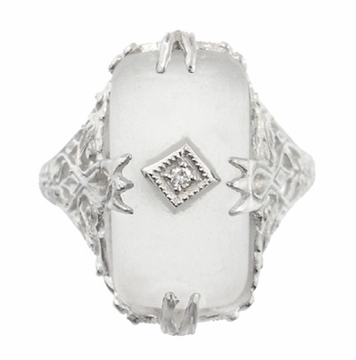 Art Deco Filigree Camphor Crystal Ring with Diamond Center in 14 Karat White Gold - Item R1126 - Image 2