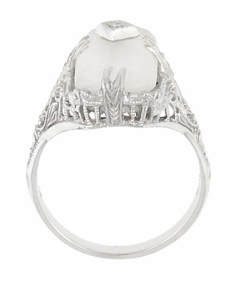Art Deco Filigree Camphor Crystal Ring with Diamond Center in 14 Karat White Gold - Item R1126 - Image 4