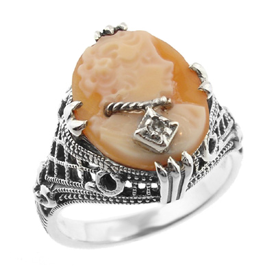 Art Deco Filigree Carnelian Shell Cameo Ring with Diamond  in Sterling Silver