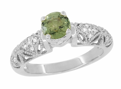 "Art Deco Filigree ""Charlene"" Green Sapphire Engagement Ring with Side Diamonds in 14 Karat White Gold - Item R1190WGS - Image 1"