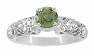 "Art Deco Filigree ""Charlene"" Green Sapphire Engagement Ring with Side Diamonds in 14 Karat White Gold - Item R1190WGS - Image 2"