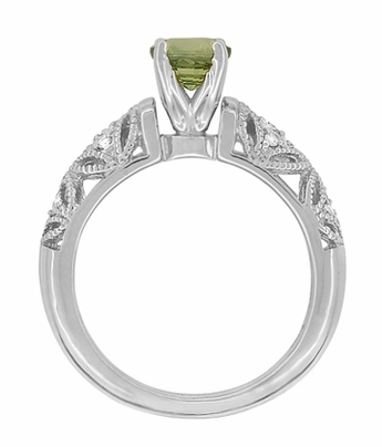 "Art Deco Filigree ""Charlene"" Green Sapphire Engagement Ring with Side Diamonds in 14 Karat White Gold - Item R1190WGS - Image 4"