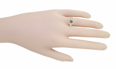 "Art Deco Filigree ""Charlene"" Green Sapphire Engagement Ring with Side Diamonds in 14 Karat White Gold - Item R1190WGS - Image 8"