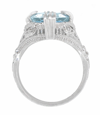 Art Deco Filigree Claw Prong Oval Blue Topaz Statement Ring in Sterling Silver - Item SSR157BT - Image 3