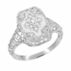 Art Deco Filigree Crystal and Diamond Ring in Sterling Silver