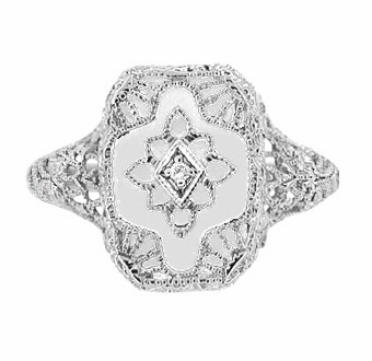 Art Deco Filigree Crystal and Diamond Ring in Sterling Silver - Item SSR11C - Image 1