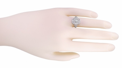 Art Deco Filigree Crystal and Diamond Ring in Sterling Silver - Item SSR11C - Image 3