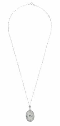 Art Deco Filigree Crystal and Diamond Set Oval Pendant Necklace in 14 Karat White Gold - Item N142WG - Image 2