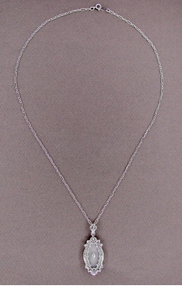 Art Deco Filigree Crystal and Diamond Set Pendant Necklace in Sterling Silver - Item N105 - Image 1
