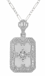 Art Deco Filigree Crystal and Diamond Set Rectangular Pendant Necklace in Sterling Silver