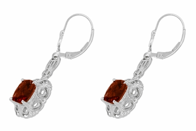 Art Deco Filigree Cushion Cut Almandine Garnet Drop Earrings in Sterling Silver - Item E166G - Image 1