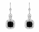 Filigree Cushion Cut Black Onyx Art Deco Drop Earrings in Sterling Silver