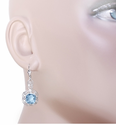 Art Deco Filigree Cushion Cut Sky Blue Topaz Drop Earrings in Sterling Silver - 1920's Gatsby Earring Style - Item E166BT - Image 2