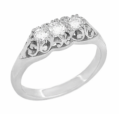 Art Deco Filigree Diamond 3 Stone Palladium Ring - Item R890PDM - Image 1