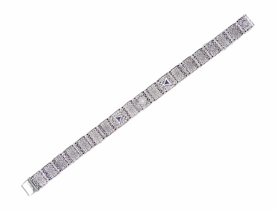 Art Deco Filigree Diamond and Sapphire Bracelet in 14 Karat White Gold - Item GBR126 - Image 1