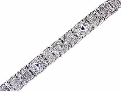 Art Deco Filigree Diamond and Sapphire Bracelet in 14 Karat White Gold - Item GBR126 - Image 2