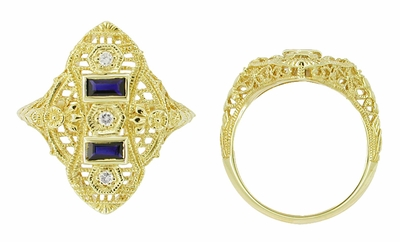 Art Deco Filigree Diamond and Sapphire Ring in 14 Karat Yellow Gold - Item RV883 - Image 1