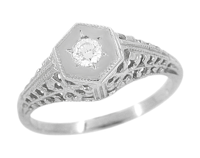 Art Deco Filigree Diamond Antique Engagement Ring in 14 Karat White Gold