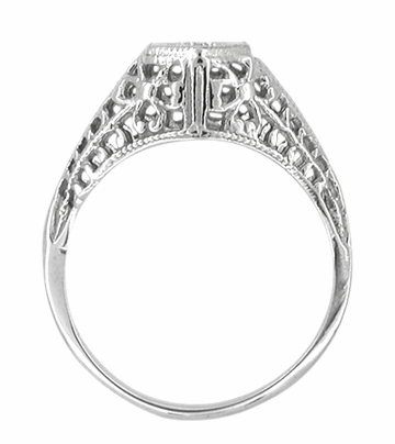 Art Deco Filigree Diamond Antique Engagement Ring in 14 Karat White Gold - Item R480 - Image 2