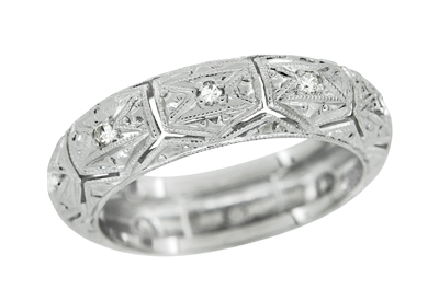 Art Deco Chesterfield Diamond Antique Engraved Filigree Wedding Band in Platinum - Size 5 1/2