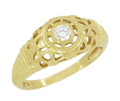 Filigree Open Flowers Diamond Engagement Ring in 14K Yellow Gold