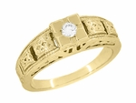Art Deco Engraved Tiered Filigree Diamond Engagement Ring - 14 Karat Yellow Gold