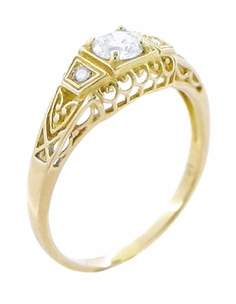 Art Deco Filigree Diamond Engagement Ring in 14 Karat Yellow Gold - Item R640Y - Image 1