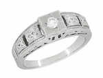 Art Deco Carved Filigree Diamond Engagement Ring in Platinum