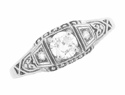 Art Deco Filigree Diamond Engagement Ring in Sterling Silver - Item SSR228D - Image 3