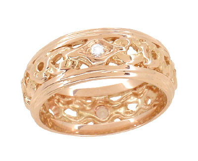 Art Deco Filigree Diamond Set Wedding Band in 14 Karat Rose ( Pink ) Gold