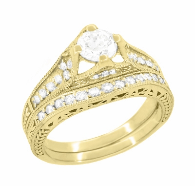 Art Deco Filigree Diamond Wheat Engraved Engagement Ring in 18 Karat Yellow Gold - Item R296Y50D - Image 4