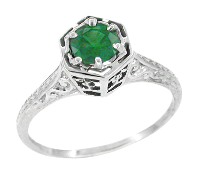 Art Deco Filigree Emerald Engagement Ring in 14 Karat White Gold