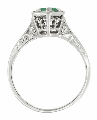 Art Deco Filigree Emerald Engagement Ring in 14 Karat White Gold - Item R180W33E - Image 1