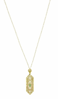 Art Deco Filigree Emerald Lavalier Pendant  Necklace in 14 Karat Yellow Gold  - Item NV208 - Image 1