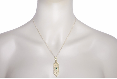 Art Deco Filigree Emerald Lavalier Pendant  Necklace in 14 Karat Yellow Gold  - Item NV208 - Image 2