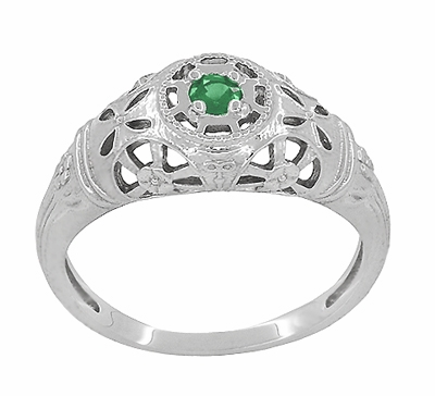 Art Deco Filigree Emerald Ring in 14 Karat White Gold - Item R428WE - Image 1