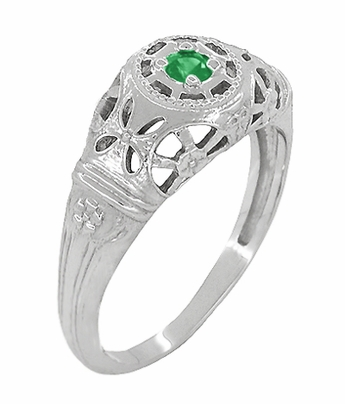 Art Deco Filigree Emerald Ring in 14 Karat White Gold - Item R428WE - Image 2