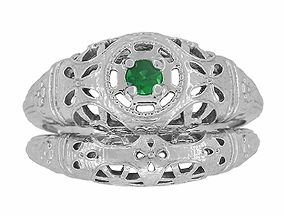 Art Deco Filigree Emerald Ring in 14 Karat White Gold - Item R428WE - Image 7