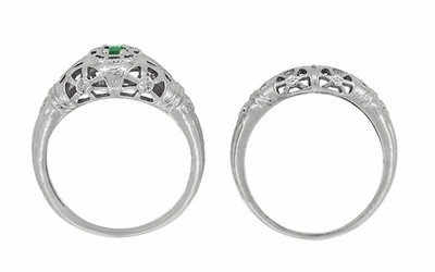 Art Deco Filigree Emerald Ring in 14 Karat White Gold - Item R428WE - Image 8