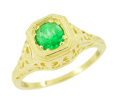 Art Deco Amenia Filigree Emerald Engagement Ring - 14 Karat Yellow Gold
